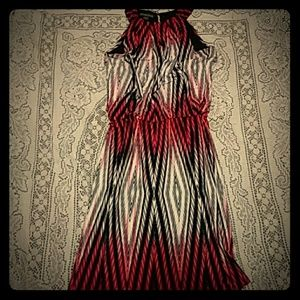 Red, white, and black abstract dress